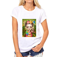 Fashion Mexican Artists Frida Kahlo Printed Loose O-Neck Short Sleeve T-shirt Women's Clothing Modal Tops Tees Casual Shirts