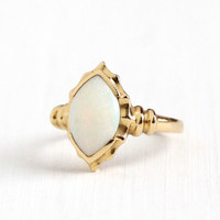 Vintage 14k Yellow Gold Opal Gemstone Ring - Retro 1940s 1950s Size 7 Marquise Cabochon October Birthstone Gem Statement Fine Jewelry