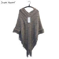 Simplee Apparel batwing sleeve tassel hem knitting cloak sweater 2015 women fall fashion tricot cape poncho Autumn winter jumper