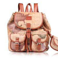 Women Girl Lady Fashion Vintage Faux Leather Ancient Map Style Backpack Bag