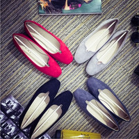 Spring New women  Shallow mouth Shoes  Fresh Candy colors Flat with Suede Princess shoes