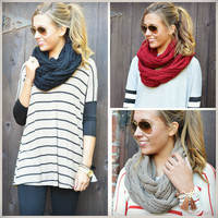 Sleigh Ride Cable Knit Infinity Scarves