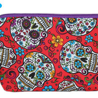 NEW Day of the Dead Makeup Pouch | Sugar Skulls Zipper Pouch | Red Makeup Bag