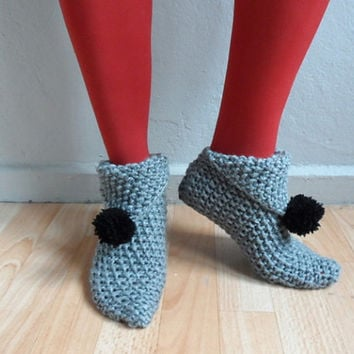 Gray Knit Slippers with Black Pompoms,  Women Slippers, Gray Slippers, House Shoes