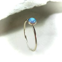 Stacking Ring Gold MMS06 Blue Fire Opal