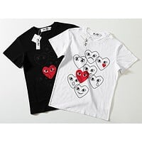 Play Summer Fashion New Love Heart Eye Print Women Men Top T-Shirt