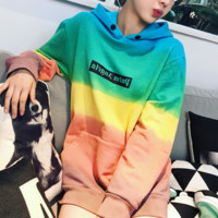 Fashion Casual Long Sleeve Hooded Rainbow Color Sweater