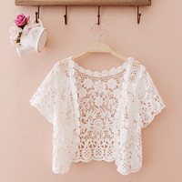 Summer womens prevented bask transparent shawl fashion hollow out shawl short sleeves lace cardigan joker thin coat