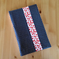Navy Polka Dot with Red Cherries Stenopad Cover
