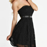 Leather and Lace Strapless Dress