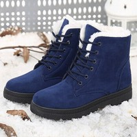 Women Winter fur Lined Suede Ankle Boots