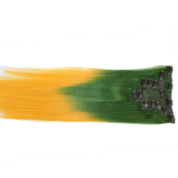 """Green/Gold (2-Toned):  21"""" Clip In 100% Human Hair Extensions"""