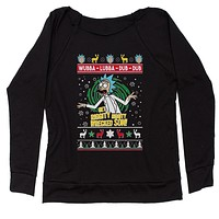 Get Riggity Wrecked Son Ugly Christmas Slouchy Off Shoulder Sweatshirt