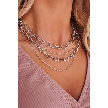 Forever Lovely Layered Necklace (Silver)