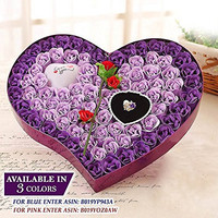 Ginzick® 92 Pcs Romantic Heart Flower Soap Roses with Led Love Heart Great For Mothers Day Fathers Day Valentines Day And And All Year Round I Love You Gift Box - Color Purple