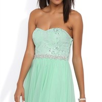 Dress with Foil Sequin Bodice and Mesh Skirt