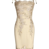 Golden Embroidery Spaghetti Strap Bodycon Mini Dress