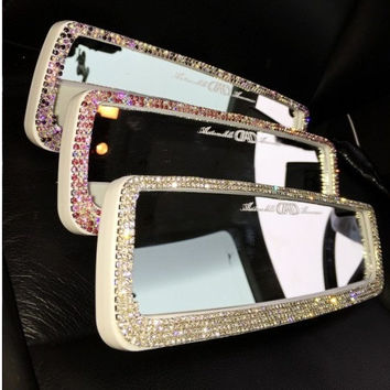 unique girl gift rhinestone Bling Car Accessories for women Car rear view mirror purple pink clean crystal stones Made to order custom color