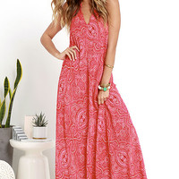 Glamorous Kiss It Better Red Print Halter Maxi Dress