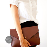 Vegan Leather Clutch - Brown Envelope Clutch - Ipad Case - Women Shoulder Bag - Evening Handbag - Wedding - Different Colors