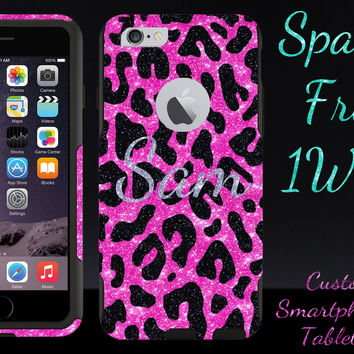 iPhone 6 Plus Case - OtterBox Commuter Series Custom Glitter Case for iPhone 6 Plus, Retail Packaging - Personalized Black Cheetah Silver Name Hot Pink/Black (5.5 inch)