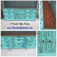 Vintage Lane 9 Drawer Dresser, painted furniture, furniture, refinished furniture, Denver and Colorado Springs, bufet, teal, turquoise