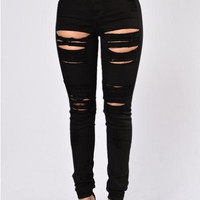 Sedrinuo New Fashion Black Ripped Jeans for Women Holes High Waist Skinny Jeans Ladies Sexy Pockets Trousers Basic Jeans