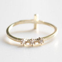 Cross and Stone Ring