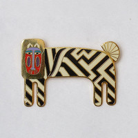 Vintage 80s  Laurel Burch ZZZEBRA Brooch 1980s Signed Cloisonné Enamel Gold Tone Zebra Jungle Animal Pin Retired Costume Jewelry