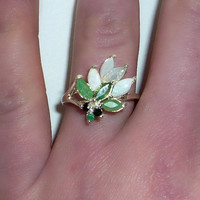 Natural Emerald & Opal Ring Sterling Silver Onyx