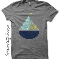 Sailboat Iron on Shirt PDF - Kids Iron on Transfer / Sail Boat Nursery Decor / Sailboat Shirt / Kids Toddler Clothing Tshirt / Digital IT73