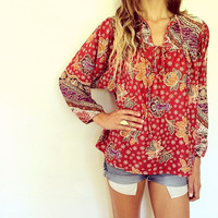 Autumn Flowers Blouse // vintage 70s dress top shirt ethnic boho hippie floral Indian gypsy bohemian // O/S