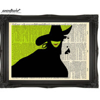 Elphaba Inspired  WICKED Print on an Unframed Antique Upcycled Bookpage