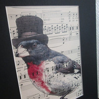 Song Bird Print: Red and Black Songbird in Top Hat, Printed on Vintage Music Sheet