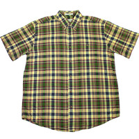 Vintage Orvis Plaid Button Down Shirt in Yellow/Green Mens Size XL