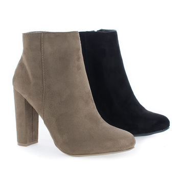 Blossom04 Almond Toe High Heel Zip Up Ankle Booties