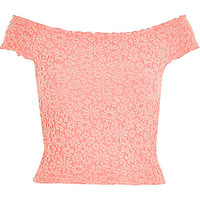 River Island Womens Pink textured floral bardot top