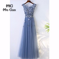 Elegant 2018 Prom dresses Long with Appliques Beaded Tank Flowers Tulle dress for graduation Formal Evening Prom Dress