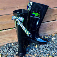Custom Game Day Seattle Seahawk Rain Boot with Navy and Lime Chevron Bows