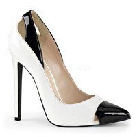 White & Black Spectator Sexy Cut Out Heels