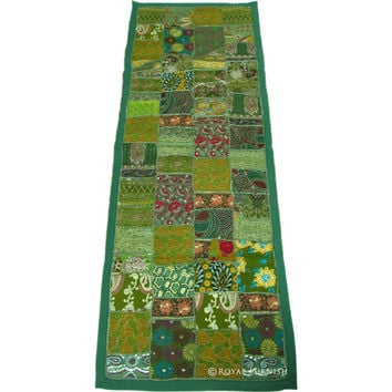 Green Antique India Patchwork Runner Home Decor Tapestry