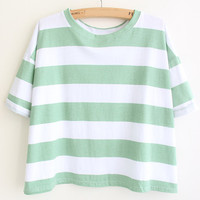 Green Striped Short Sleeve Cropped T-shirt