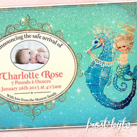 Merbaby Baby Girl Birth Announcement - personalized print at home digital file - customised for your baby - mermaid