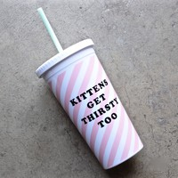 ban.do sip sip tumbler with straw - ticket stripe (kittens get thirsty too)