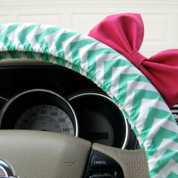 The Original Seafoam Green and White Chevron Steering Wheel Cover with Matching Bright Brink Pink Bow - Little Mermaid Inspired