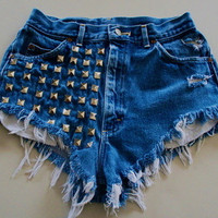 Dark Denim High Wasted Shorts With Studs by BohoChildGarments
