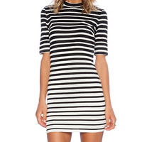 Bardot Graduated Stripe Dress in Black & White