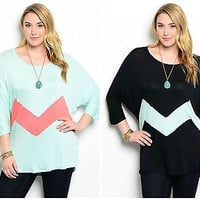 Plus Size Dohlman Sleeve Color Block Longer Tunic Top