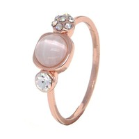 Dear Deer Rose Gold Plated CZ Moonstone Crystal 3 Stone Band Ring