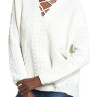 Love by Design Cross Front Braided Sweater | Nordstrom